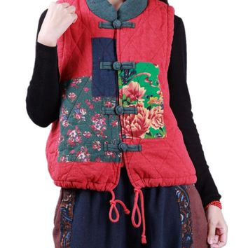 Traditional Female Quilted Vest Ethnic Patch/Pockets Drawstring Hem