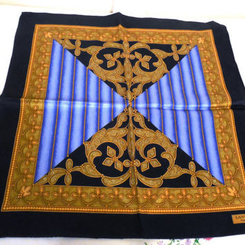 "Lanvin Paris Pocket Scarf 15"", Sharp Silk Men's Pocket Scarf, Gold Baroque Design, Blue Geometric Lines, Silk Pocket Scarf 15"" x 15"" Scarf"