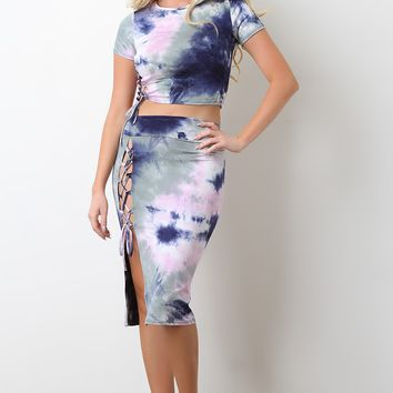 Tie Dye Side Lace Up Midi Skirt