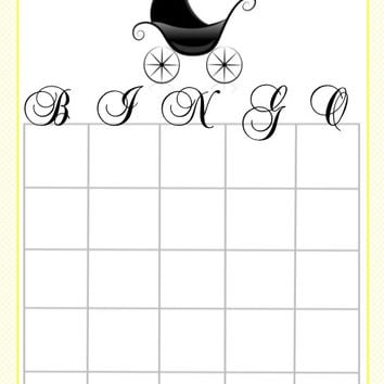 Black Stroller Baby Shower Bingo Cards