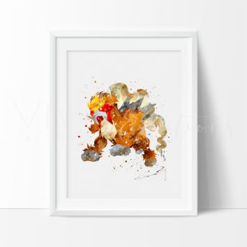 Entei, Pokemon Watercolor Art Print