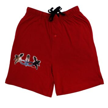 Galaxy Masquerade Mask Adult Lounge Shorts - Red or Black by TooLoud