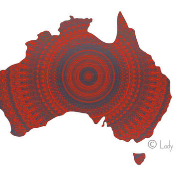 Australia Map Poster Print - coral and grey geometric art print, world map poster, home decor wall art, dorm decor print poster