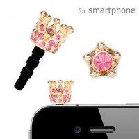 Plug Apli Shiny Crown Earphone Jack Accessory (Gold x Rose#209)