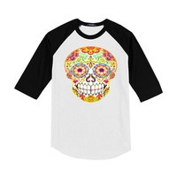 Adult Raglan Skull Shirt Small Medium Large tshirt Mens Women tee Day of the Dead sugar skull baseball tee Unisex Clothing S M L White Black