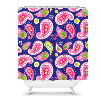Paisley Girl Shower Curtain Pink Navy Monogram CUSTOM Floral Swirl Bathroom Bath Polyester Made in the USA