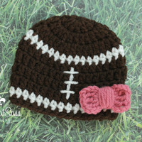 Baby Girls Newborn Crochet Hospital Cap - Football Beanie  with Bow - Coming Home Hat - Crocheted - Knitted - Handmade
