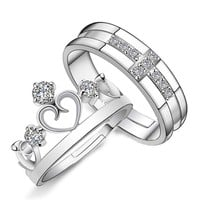 Silver Rhinestone Couple Promise Rings