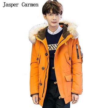 Free shipping 2017 Fashion Men Padded Parka Brand Winter Polyester Coat Thick Parkas With Fur Collar 190hfx
