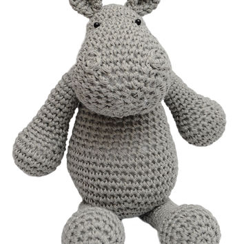 Gray Hippo Handmade Amigurumi Stuffed Toy Knit Crochet Doll VAC