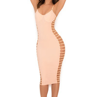 Clothing : Bodycon Dresses : 'Giovanna' Blush Open Side Bustier Dress