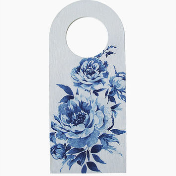 Blue Peonies Door Sign. Shabby chic Door Knob Hanger.  French country chic decor. Wooden decoupage door hanger. Floral doorknob hanger sign.
