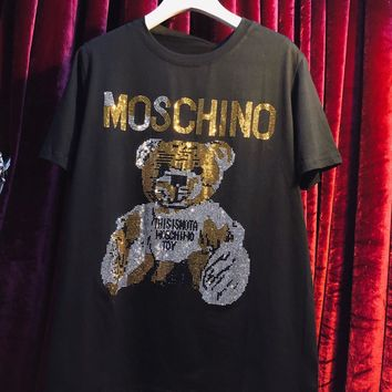 Moschino Tide brand fashion street style hot drilling letter bear loose round neck T-shirt Black
