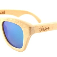 Thrive Shades Mens Flourish Blue Wayfarer 48mm Polarized Bamboo Wood Sunglasses