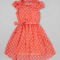 Coral Camisole & Polka Dot Shirt Dress - Girls | Daily deals for moms, babies and kids