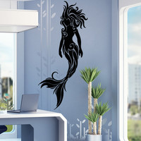 Vinyl Wall Decal Sticker Swirly Tribal Mermaid #OS_AA1686