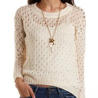 Embellished Pointelle Sweater by Charlotte Russe - Ivory