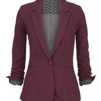 Red Chevron Cuff Knit Blazer - Mulberry