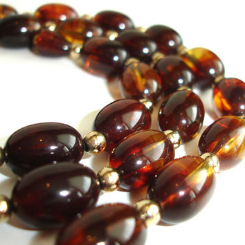 #Vintage #Faux #Tortoise #Shell #Necklace, #Honey #Amber #Beaded #Necklace, #Art #Deco #Jewelry, Costume Jewelry