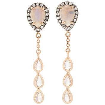 Calming Yin 18K Rose Gold, Diamond and Moonstone Earrings | Moda Operandi