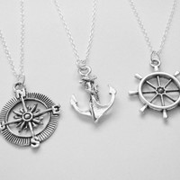 3 Anchor, Compass, Rudder Best Friend Necklaces BFF