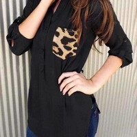 Black Top with Chest Pocket in Leopard - US$11.95 -YOINS