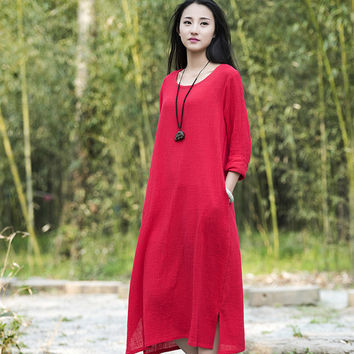 O-neck Long sleeve Cotton Linen Women Long Dress Summer Causal Brief Dress Solid Red White Army green Brand Kawaii Dresses B112