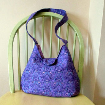 Purple Shoulder Bag , Purple Owls , Tula Pink Purse , Medium Shoulder Bag With Pockets