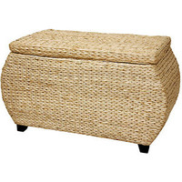 Wicker Storage Trunk Rattan Chest Natural Oriental Woven Cloth Lined Ratan