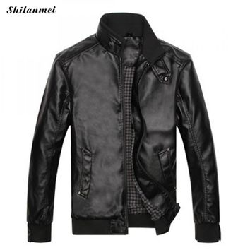 Fashion Men'S Leather Jacket Fashion Plus Size Quality Motorcycle Bomber Faux Leather Coats Male Outerwear Jaqueta De Couro Xxl