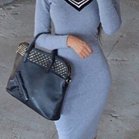 Light Blue Deep V-Neck Long Sleeve Bodycon Dress