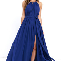 Gleam and Glide Royal Blue Maxi Dress