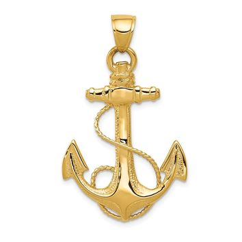 Mens 14k Yellow Gold Large Textured & Polished Anchor Pendant, 25x40mm