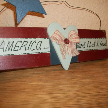 Wooden Sign America Land That I Love Heart Star Red White Blue USA Patriotic Vintage Home Decor Rustic Wire Wall Hanging