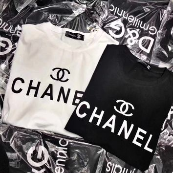 """""""Chanel"""" Women Simple Casual Letter Print Short Sleeve T-shirt Top Tee"""