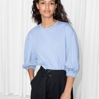 & Other Stories   Puff Sleeve Top   Light Blue