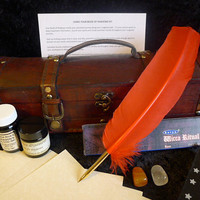 BOOK OF SHADOWS Starter Kit writing set spells pagan wicca quill calligraphy dragons blood ink