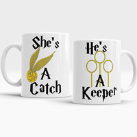 He's a keeper she's a catch Harry Potter Set Mugs His and Hers mugs Couples mugs Harry Potter coffee tea cups Harry Potter gift for him her