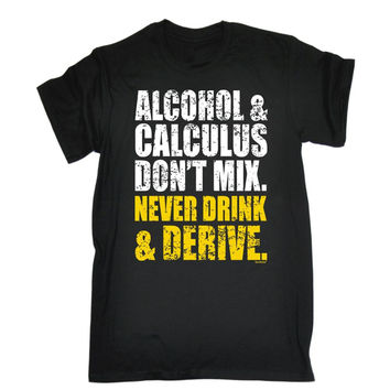 Alcohol And Calculus T-shirt Geek Nerd Maths Beer Wine Funny Birthday Gift 123t Cotton Loose Short Sleeve Mens Shirts