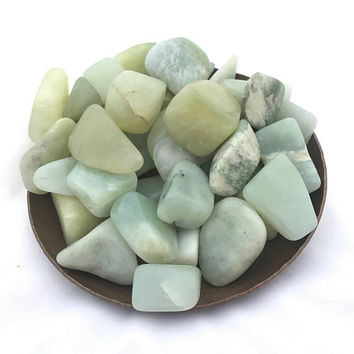 10 Polished Jade Stones, Tumbled Stones, Crystal Healing, Wire Wrapping, Tumbled Jade Crystal, Lucky Jade, Light Green Jade, Goddess Energy