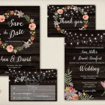 Floral Wedding Save the Date Invitation Rustic Date Save Invite Dark Wood Printable Wedding Digital Flower Wreath Date Card - WS008