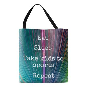 """Eat Sleep Repeat, Sports"" quote teal tote bag"