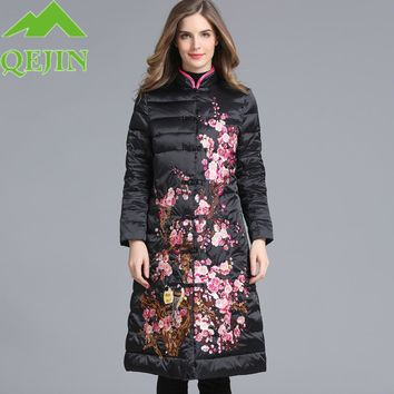 Europe winter duck down jackets women long coat parkas flower vintage embroidery elegant female outerwear warm lady thick parkas