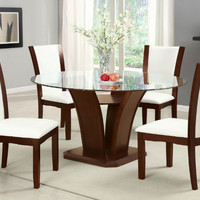 "Furniture of america CM3710RT-WH-5PC 5 pc manhattan ii dark cherry finish wood 54"" round glass top dining table set"