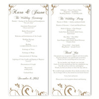 Wedding Program Template DIY Editable Text Word File Download Program Gold Wedding Program Floral Program Printable Program 4x9.25inch