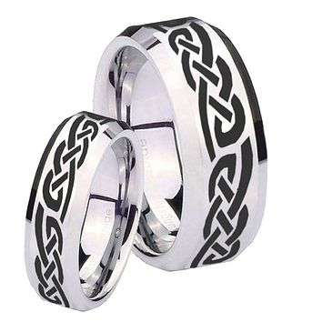 His Hers Celtic Knot Infinity Love Beveled Edges Silver Tungsten Men's Ring Set