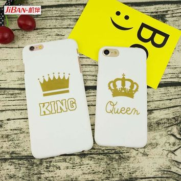 JiBan New Gold Text White Background Queen King Crown Phone Case for Apple iPhone 5s 5se 6 6s 7 7Plus 8 8plus X Back Cover Case