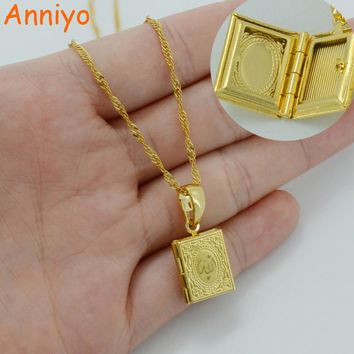 DIY Photo Box Necklaces for Women/Girl,Allah Pendant Gold Color Muslim Islamic Jewelry Gift