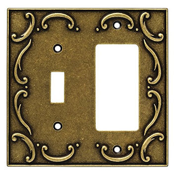 Brainerd 126387 French Lace Single Toggle Switch/Decorator Wall Plate / Switch Plate / Cover, Burnished Antique Brass