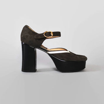 90s does 70s CHARCOAL Gray PLATFORMS / Strappy Peep Toe Mary Jane HEELS, 5.5-6